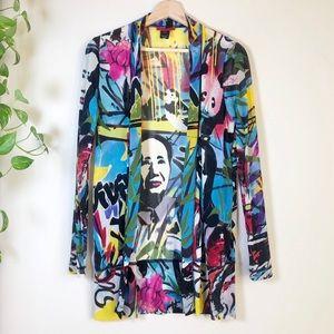 Vivienne Tam Mao Graffiti Print Nylon 90s Mesh Top